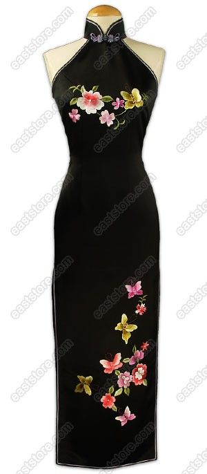 Mandarin collar.  Chinese treated phoenix button.  Cut-in shoulder.  Invisible back center zipper.  Blooming flowers and flying butterflies embroidered.  2 side slits.  Fully lined.  Ankle length.