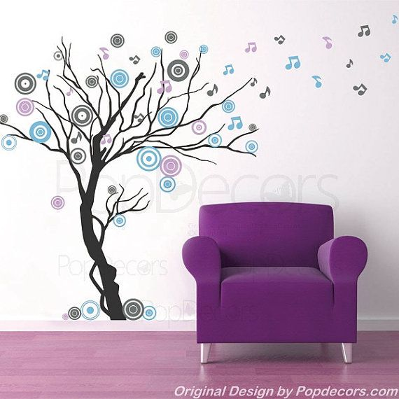"""Maybe for Lyric's nursery...Tree Decals Living Room Decal Wall Sticker Modern Vinyl Decal - Music tree (78"""" H) - Designed by Popdecors"""