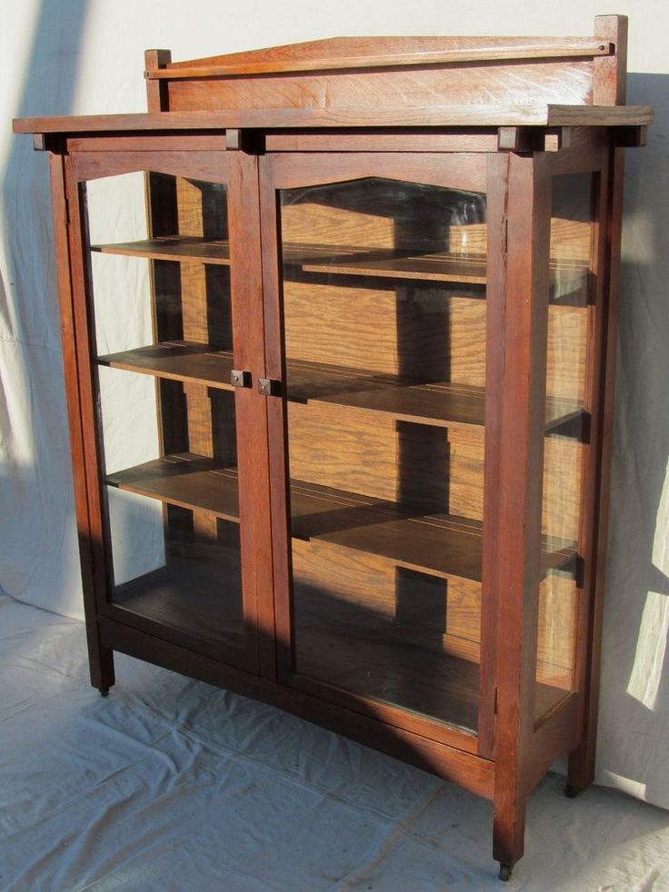 Antique Arts Crafts Mission Oak China Cabinet In Fumed Finish Stickley Era