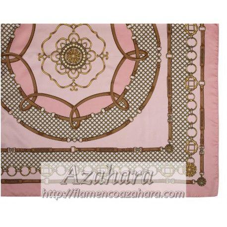 #Pañuelo rosa con estampados hípicos. #modaflamenca.