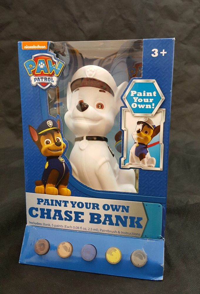 Paw Patrol Paint Your Own Chase Bank Age 3 + Years bank, 5 Paints, Paintbrush  | Collectibles, Banks, Registers & Vending, Still, Piggy Banks | eBay!
