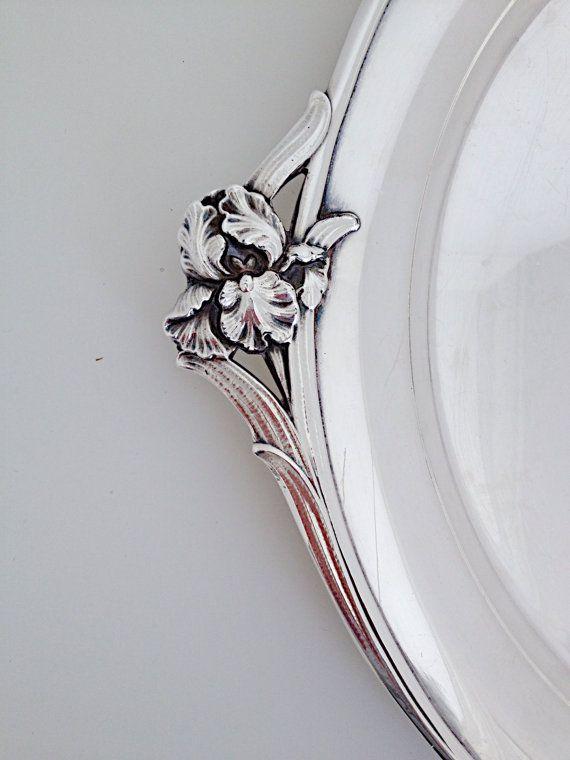 Vintage Silver Tray, Vintage Round Silver Tray, Iris 971 by International Silver Co,Wedding Gift,Housewarming Gift,Drink Tray,Sturdy Tray
