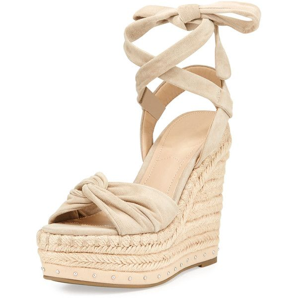 Kendall + Kylie Grayce Espadrille Wedge Sandal (7,540 DOP) ❤ liked on Polyvore featuring shoes, sandals, heels, wedges, light natural, ankle strap wedge sandals, open toe heel sandals, ankle strap sandals, platform sandals and heeled sandals