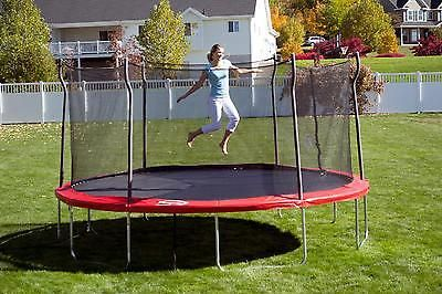 15ft Enclosed Trampoline Anchor Kit Outdoor Safety Net Kids Jump Backyard Red