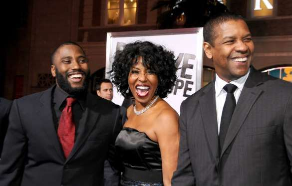"""© Gregg DeGuire/FilmMagic/Getty Images    DENZEL WASHINGTON  The """"Training Day"""" actor and his wife Pauletta Pearson (C) are parents to former NFL footballer John David (L) who stars in """"Ballers.""""  Other children: Katia and twins Olivia and Malcolm"""