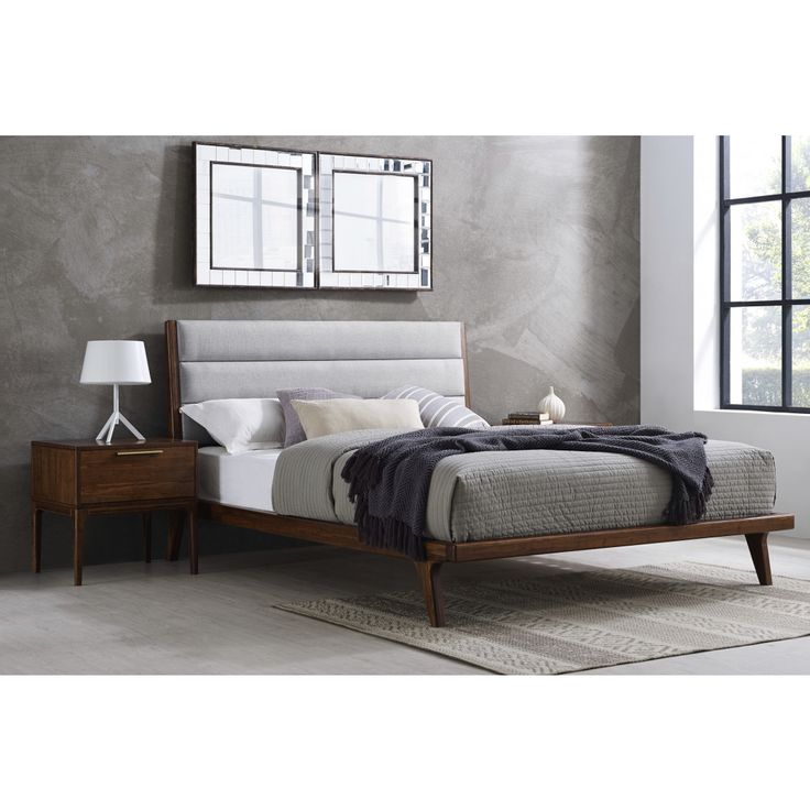 Mercury Upholstered California King Platform Bed, Exotic, ,