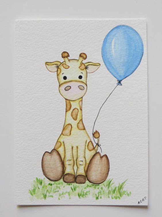 Watercolor painting, nursery painting, original painting, giraffe painting, childrens art on Etsy, £11.86: