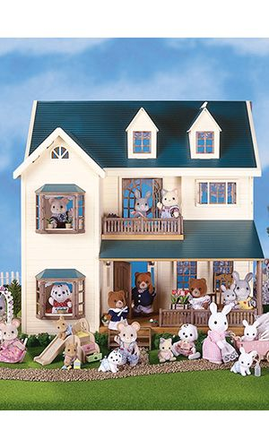 Calico Critters Deluxe Village House Bonus Gift Set    Kids will squeal with delight when they see this! Not only do you get this fabulous critter doll house but it comes with these bonus gifts: Furbanks Squirrel Family Set, Furbanks Squirrel Twins, Fuzzy Penquin Triplets, and the Nightlight Nursery Set. Ages 3 and up.