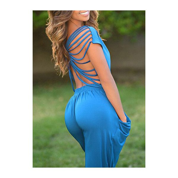 Rotita Backless Top and Pants Blue Two Piece Jumpsuits ($26) ❤ liked on Polyvore featuring jumpsuits, blue, jumpsuits & rompers, patterned jumpsuit, short sleeve jumpsuit, 2 piece jumpsuit and blue jumpsuit