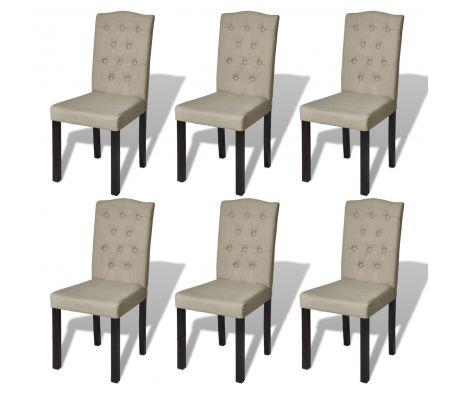 Sæt med 6 Antikke spisestuestole Beige (240557 og 240558)