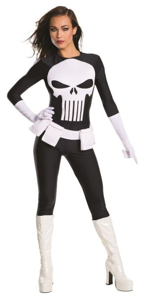 Adult Female Marvel Punisher Costume - Lynn Michaels - 4 sizes  Lynn is a highly proficient at unarmed combat due to her police training and, like the Punisher, is not averse to using guns in her war against crime.  She first appeared in Punisher War Zone #7, as a police officer attempting to catch a serial rapist plaguing Central Park. Frank Castle is in the park as well, taking down targets of opportunity as well as being aware of the rapist.  They both confront the criminal, but he…