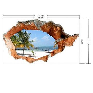 3d muur stickers mooie zomer strand pvc wasbaar muuroverdrukplaatjes - EUR € 12.60