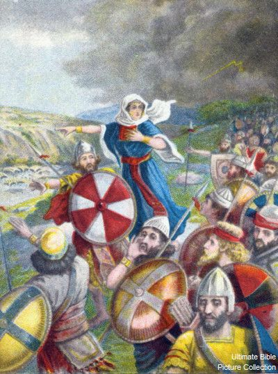 Deborah and Barak leading the Israelites to battle against the Canaanites, approaching Mount Tabor (Judges 4)