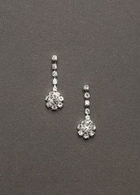 Dainty yet elegant, these crystal drop earrings are a great accent.  Tiny crystals shape a stunning drop earring.  Post back.  Available in Silver.   Imported.