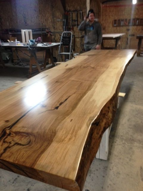 Best 25 harvest tables ideas on pinterest kitchen table for How to finish a wood slab
