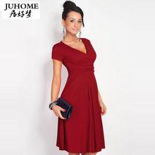 Большой размер дамы офис туника dress женщин 2017 новый летний горячий красный элегантный v-образным вырезом с коротким рукавом плиссированные плюс размер dress vestidos(China (Mainland))