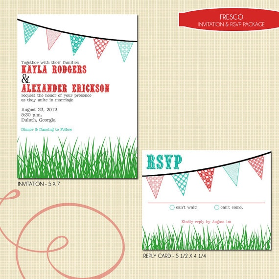 Wedding Invitation and RSVP Card (Fresco) Digital Files