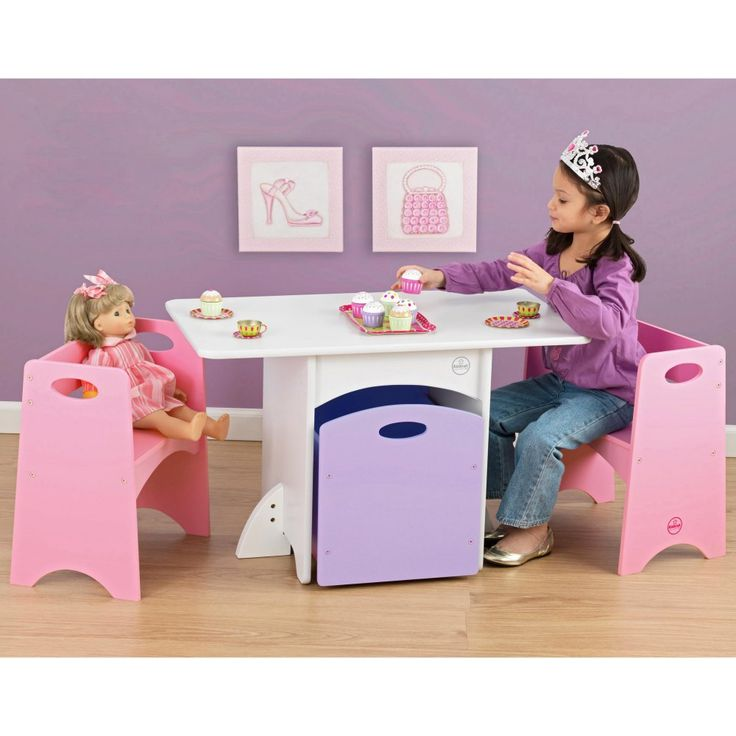 KidKraft Pastel Table and Bench Set - 26162 - Give your daughter a place to sit for imaginary tea parties that will also hold her toys when she is done. This set comes with two pink benches with h...