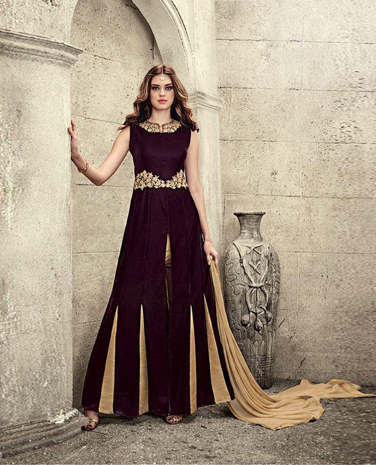 Brown Velvet Designer Anarkali Suit 78694