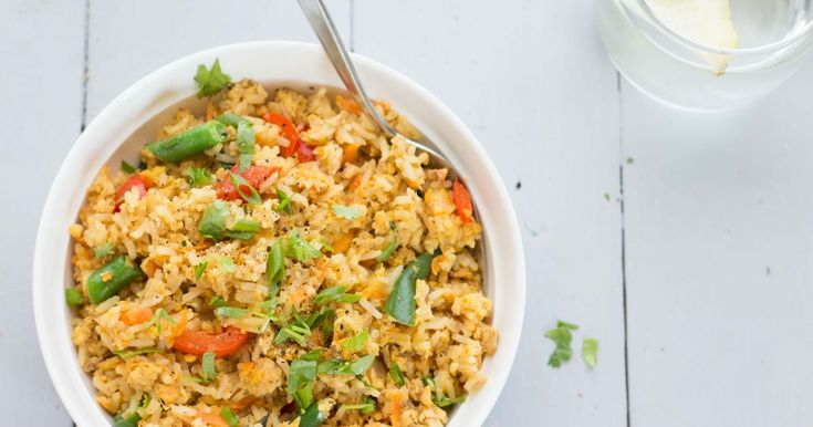 Salmon fried rice - I'd like it without the eggs!