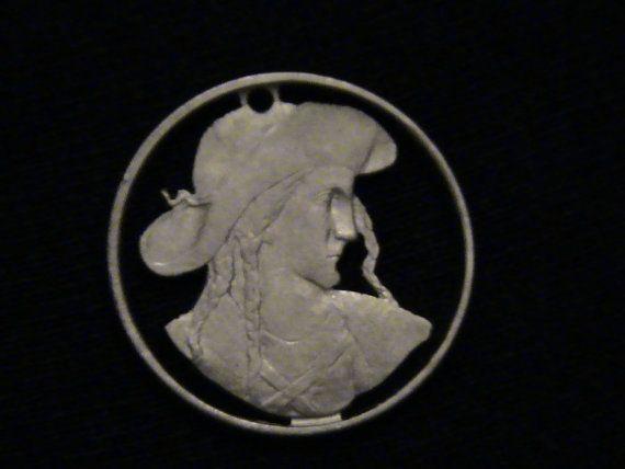 1948 Czechoslovakia  cut coin pendant  w/ Juraj by Petsalad