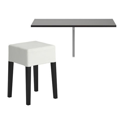 BJURSTA/NILS Table and 1 stool IKEA Becomes a practical shelf for small things when folded down. Folds flat; saves space when not in use.