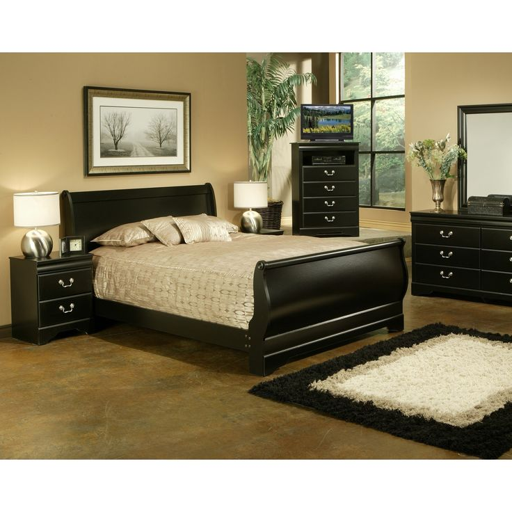Traditional Black Louis Philippe Two Nightstand Bedroom