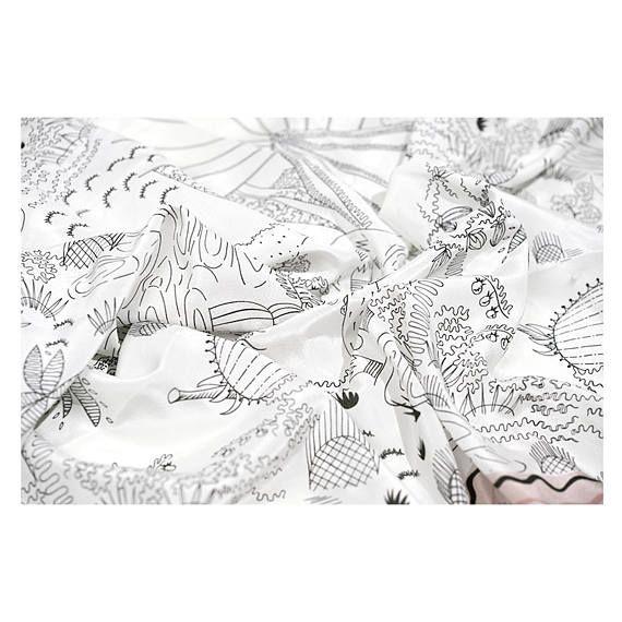 Crepe de Chine silk fabric sketch drawing digital printing