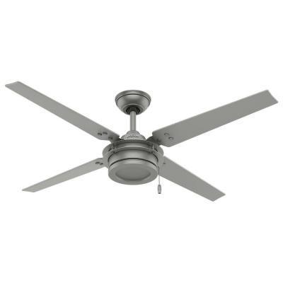 Hunter Gunnar 54 in. Outdoor Matte Silver Ceiling Fan-59208 - The Home Depot