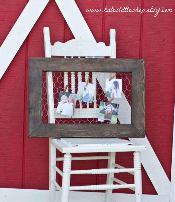 Etsy Chicken Wire Clothespin Frame $53 I really love the dark walnut with the chicken wire (like this frame)