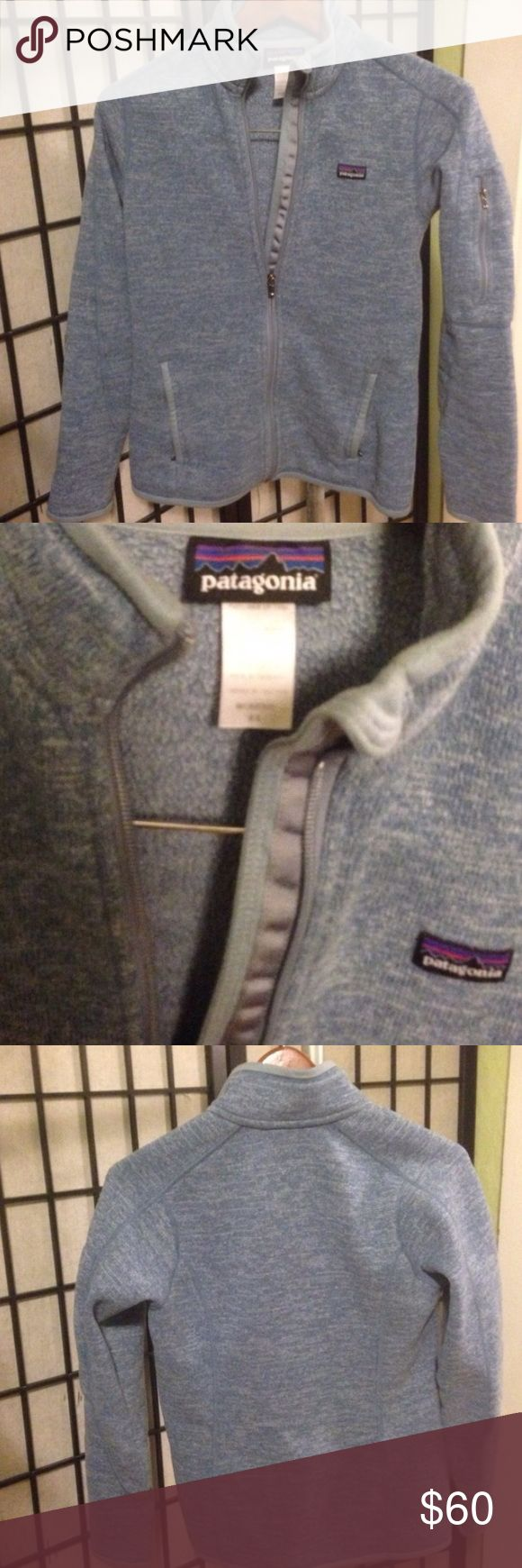 Patagonia Better Sweater Light blue grey Patagonia better sweater. Size xs. Bought this from another posher and love it but a tiny bit small, I was looking for it to be a little bigger so hoping to resell. Very minimal signs of wear. Patagonia Jackets & Coats