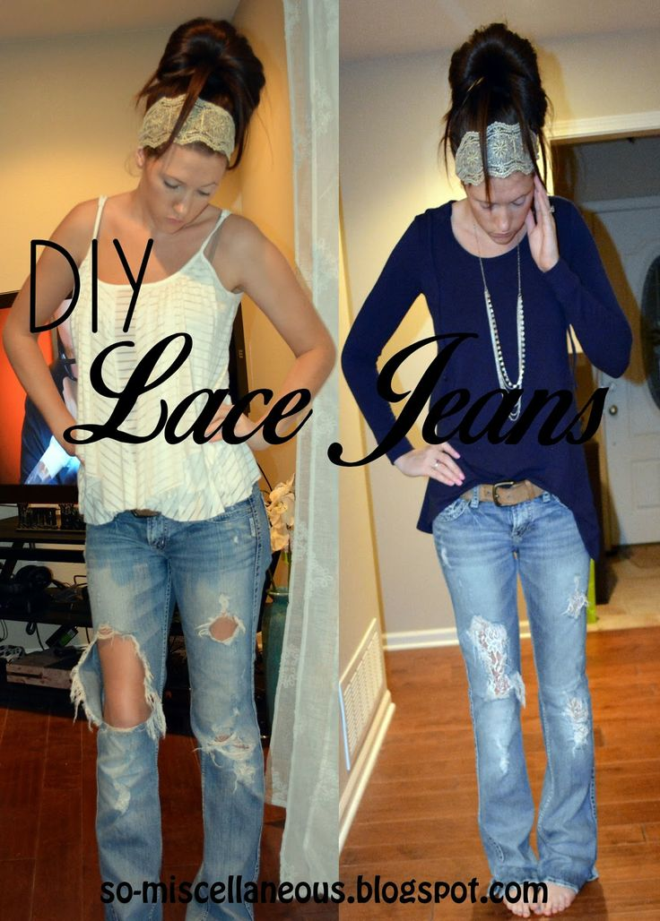 DIY Lace Jeans. Super EASY and FAST. Done in less than 20 min with under $10!! #diy #lace #crafts