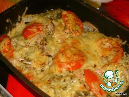 Красная рыба, запеченная с томатом и сыром ингредиенты