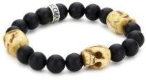 King Baby Men's 10mm Black Onyx Bead Bracelet with 3 Bone Skulls