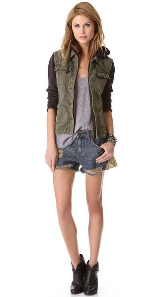 Early fall shorts outfit featuring   Free People Pieced Twill Jacket