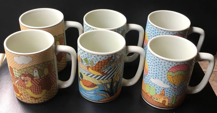 Otagiri Japan Patchwork Quilt  Coffee Mugs Lot of 2 Rooster Geese Or Hot Air Balloon Or Ducks Lake 80s Country  Cottage Rustic Your Pick by Fraservalleyjewels on Etsy