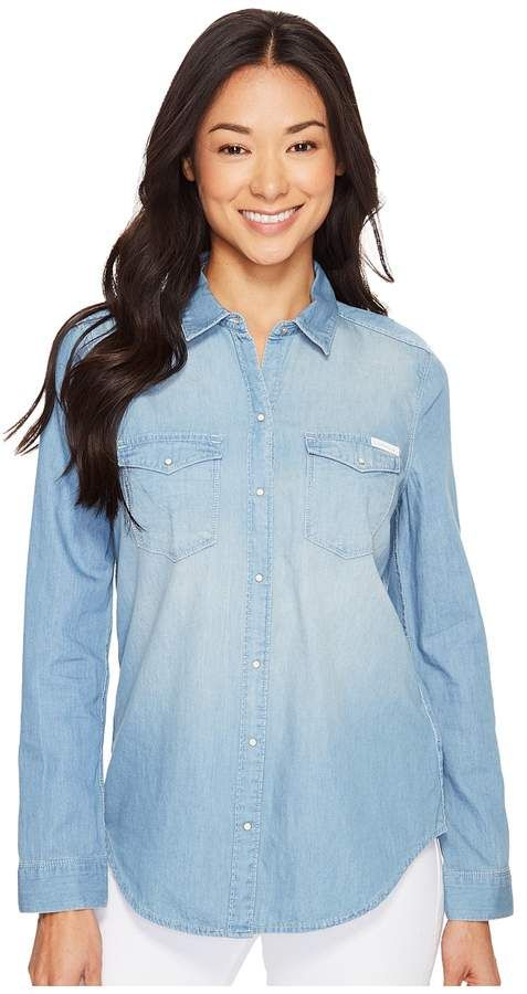 b15fb0d1 Calvin Klein Jeans Basic Denim Shirt Women's Long Sleeve Button Up- A  must-have shirt for any wardrobe. Button front design boasts a comfortable  tri-blend ...