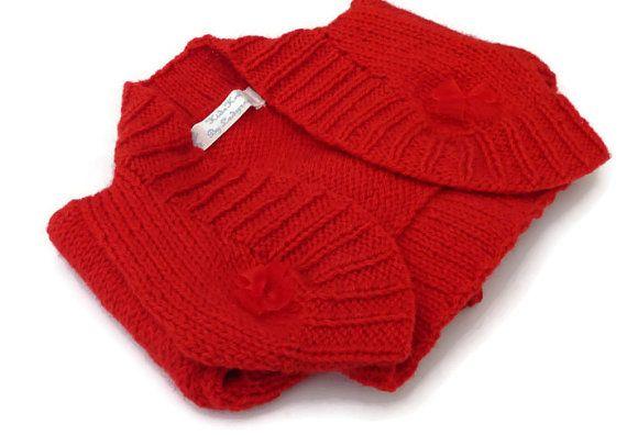 Baby Girls Red Shrug Cardigan / Hand Knit Baby by KidsKnitsUK