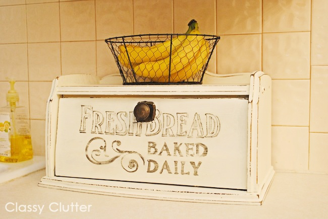"""Fresh Bread"" Hand painted Bread Box with tutorial on how to do faux antique lettering via Classy Clutter"