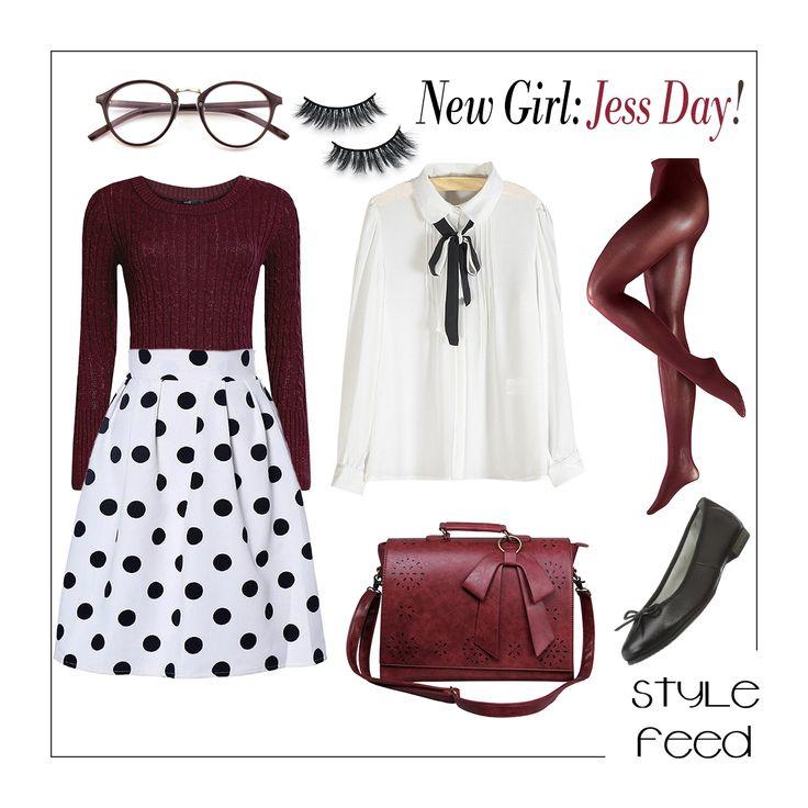 Jessica Day von New Girl hat immer gute Laune und ist so erfrischend weird. Wenn ihr danach ist, singt sie einfach drauf los - und auch bei der Kleidung ist sie eigen: Mädchenhaft und gleichzeitig schick, extravagant, knallig, aber immer perfekt abgestimmt. So zum Beispiel ihr Polka Dot Rock, den sie mit Bordeaux kombiniert hat. TV SHow Outfits / Jess Day Zooey Deschanel Outfit Style / New Girl Fashion / Film Fashion / TV Show Fashion |Stylefeed