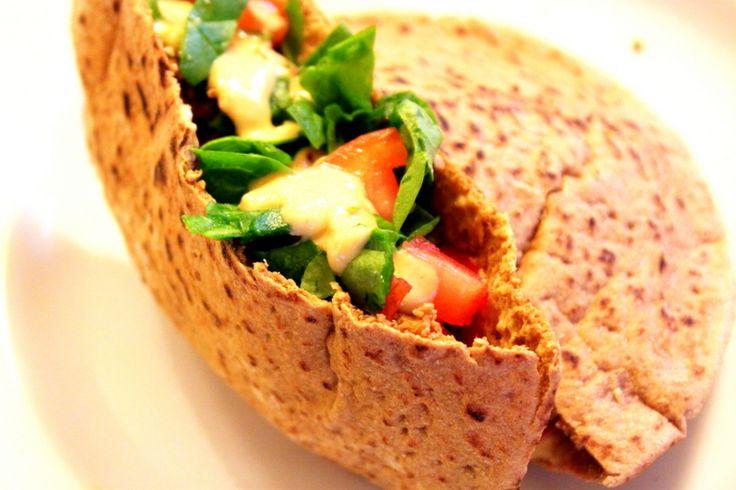 baked falafel pita pockets with hummus sauce! 200 calorie meal :D