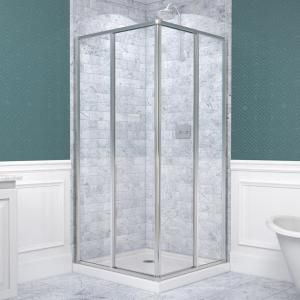 dreamline cornerview in x 72 in framed corner sliding shower door enclosure in chrome with handle