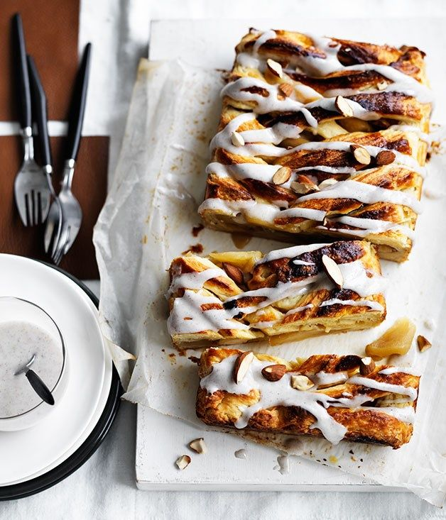 Caramelised apple Danish with cardamom icing recipe :: Gourmet Traveller