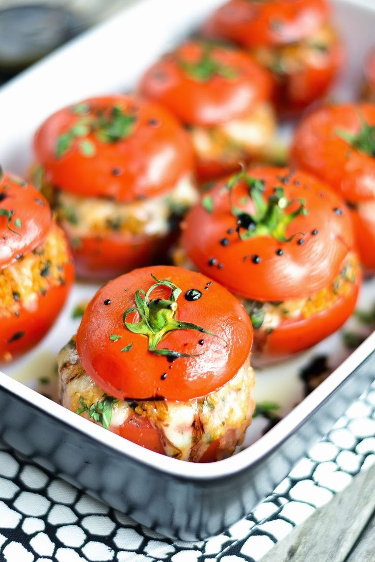 Caprese Style Stuffed Tomatoes with Balsamic Reduction #summer #basil