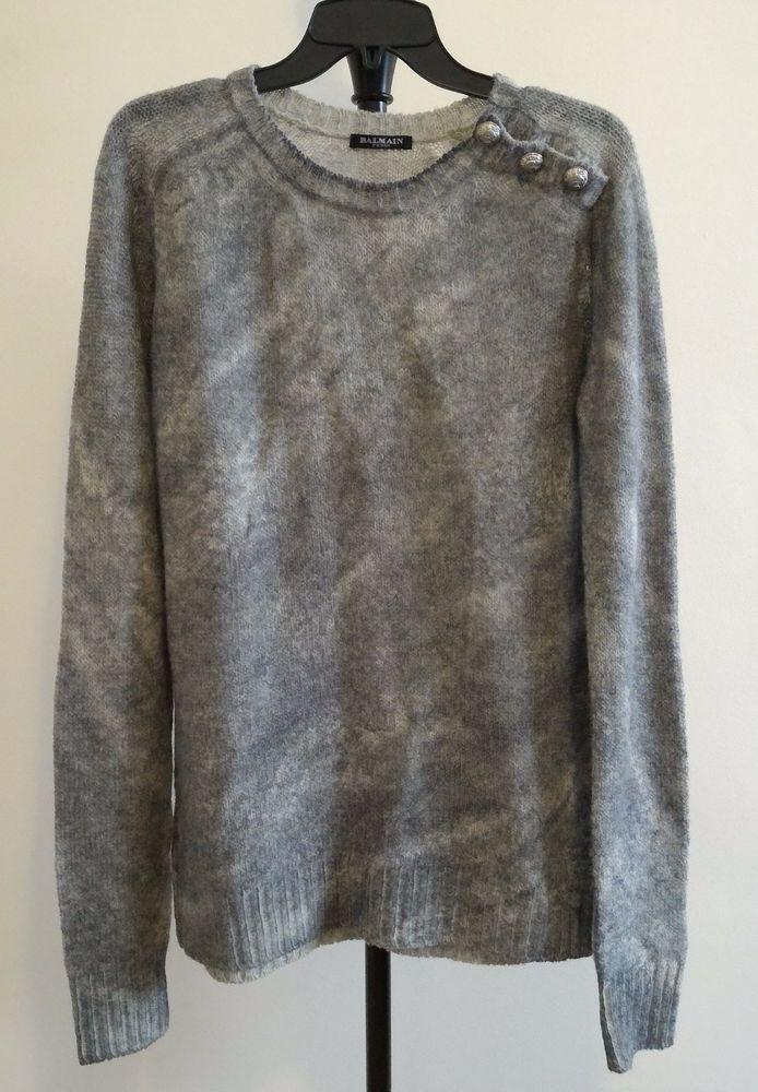 100% Authentic BALMAIN Sweater Dress Lambswool Gray Knit Size 42 NEW France #Balmain #SweaterDress