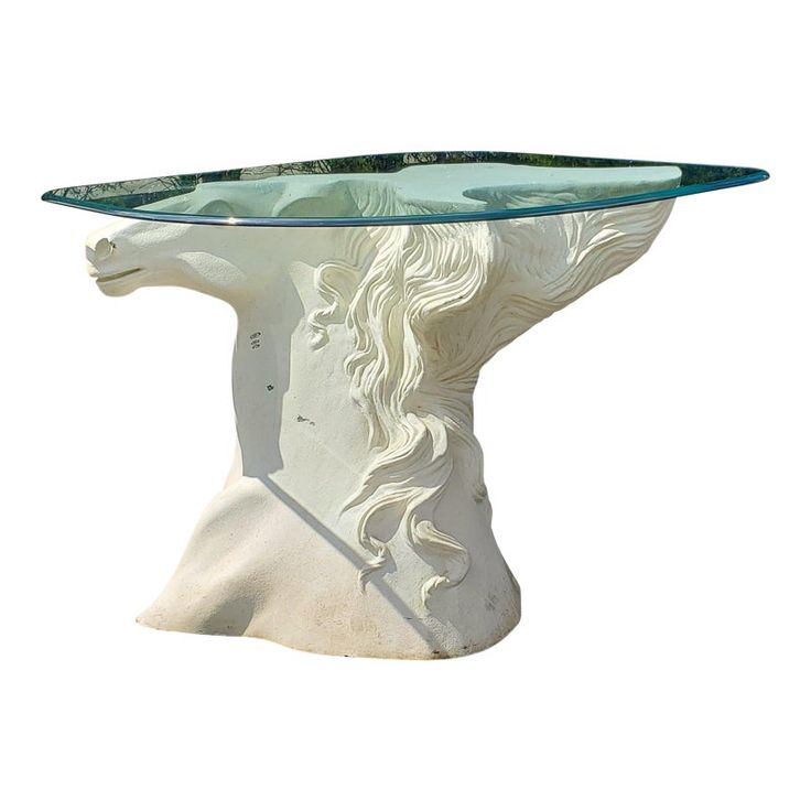 1970s Regency Sculptural Fiberglass Resin Horse Head Console Table