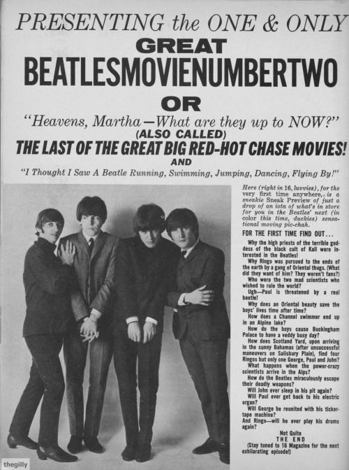 "Presenting the one and only great BeatlesMovieNumberTwo or ""Heavens, Martha - What are they up to NOW?"" (also called) The Last of the Great Big Red-Hot Chase Movies! and ""I Thought I Saw a Beatle Running, Swimming, Jumping, Dancing, Flying..."