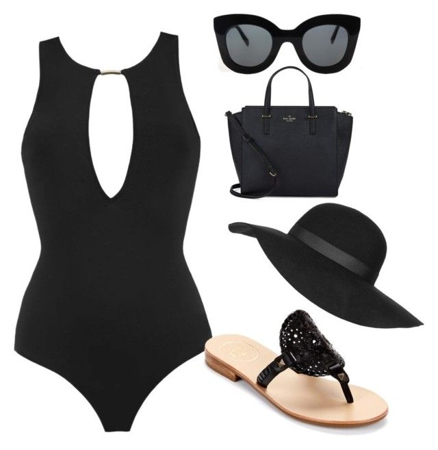 """""""Ariel's Pool Outfit"""" by eldatheunicorn ❤ liked on Polyvore featuring MOEVA, Jack Rogers, Kate Spade, Topshop and CÉLINE"""