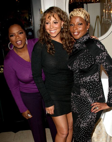 """Mariah Carey Photos - (L-R) Executive producer Oprah Winfrey, actress Mariah Carey and singer Mary J. Blige pose at the """"Precious: Based On The Novel """"Push"""" By Sapphire"""" press conference held at the Four Seasons Hotel on September 13, 2009 in Toronto, Canada. - """"Precious: Based On The Novel """"Push"""" By Sapphire"""" Press Conference - TIFF"""