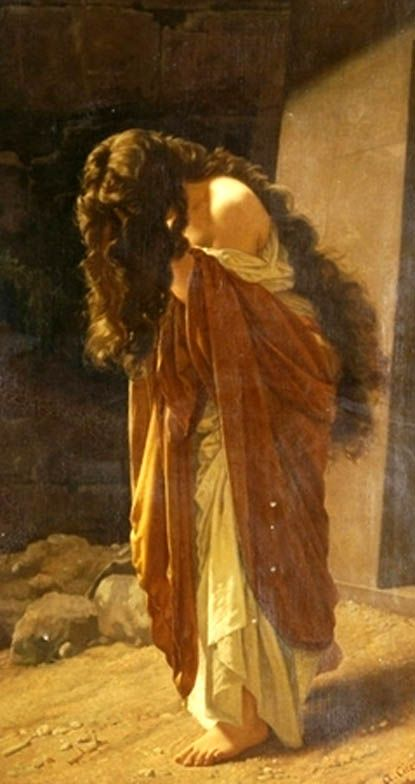 Beautiful painting ! Maria Magdalena, a woman who was mistakenly judged and to this day is mistakenly believed to be someone she is not, however she was one of the only people who stood by the side of someone she cared for through as he was being persecuted and thereafter.